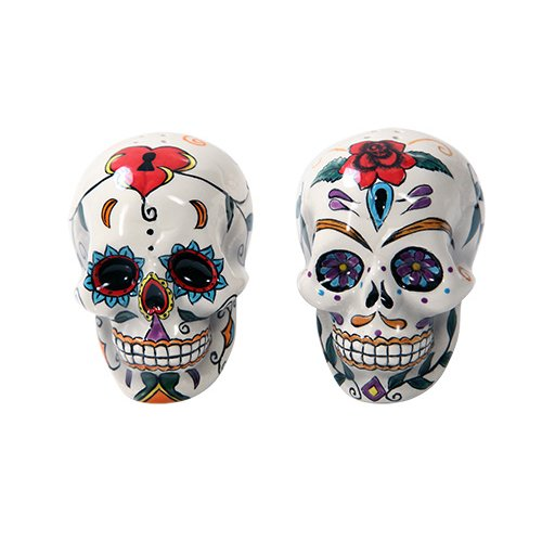 PACIFIC GIFTWARE Day of the Dead Sugar Skull Salt and Pepper Shaker Set