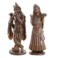 Radha Krishna Hindu Deity Figurine Set Indian Deity Collectible 10 Inch