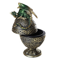 Dragon Protector of the Golden Celtic Egg Orb Sculptural Box 6.5""