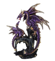 Royal Purple Dragon Family Collectible Figurine 9 Inch Tall