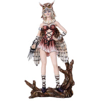 Fairyland Legends Owl Mask winged Fairy stand on wood Figurine Collectible 12.3""