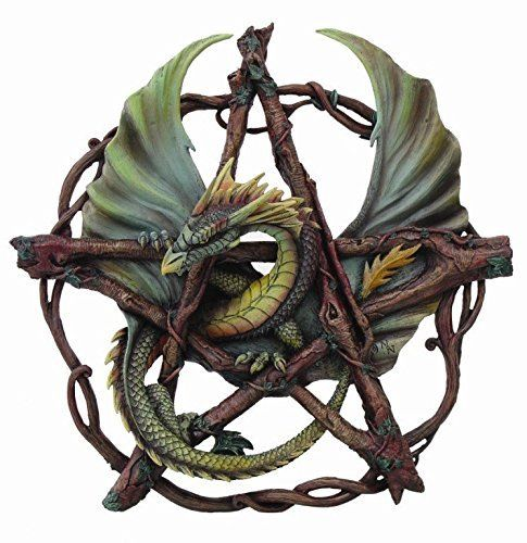 13 Inch Forest Branch Design Pentagram Dragon Décor Statue Figurine