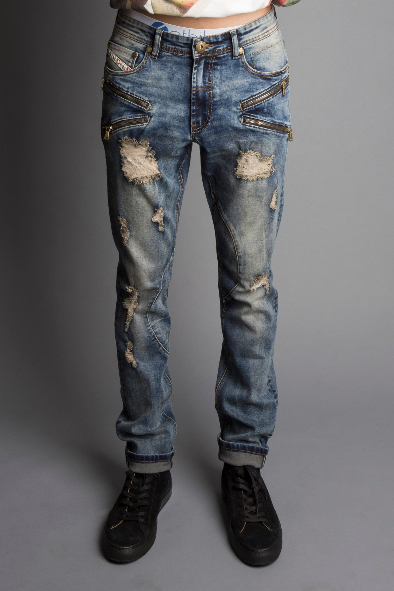 Zipper Clean Denim Jeans