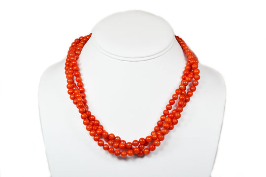Garden of Life Red Coral Multi-Strand Necklace Eastern Drift