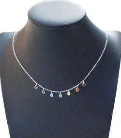 New Arrival! Sterling Silver 7 Chakra Necklace with Cubic Zirconia Stones Eastern Drift