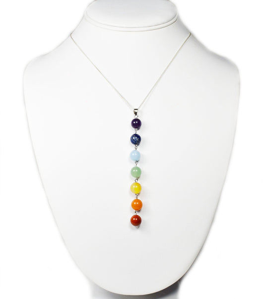 Sterling Silver Chakra Gemstone Bead Necklace Eastern Drift