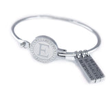 "E-Logo ""Forgiveness and Let Go"" Motivational Bracelet Eastern Drift Small 14 - 15 CM/ 5 1/2 - 6 Inches Clear Cubic Zirconia"