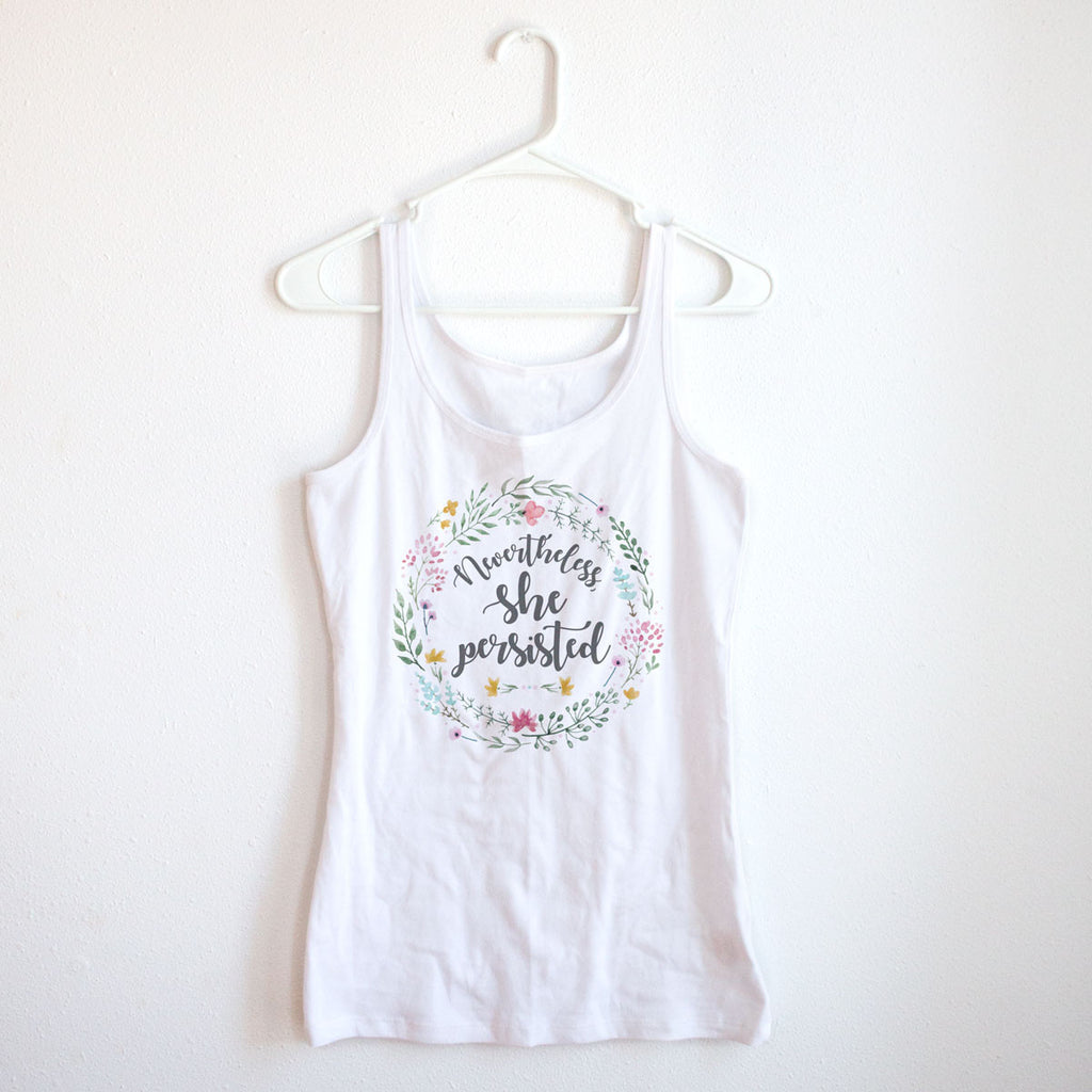Nevertheless She Persisted Ladies' White Tank - pipercleo.com