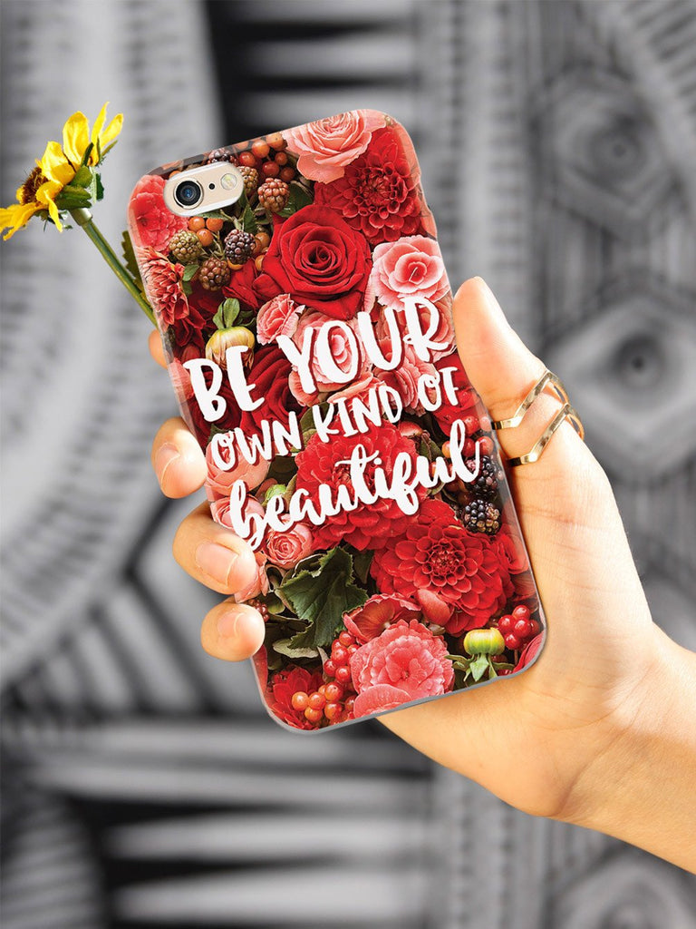 Be Your Own Kind of Beautiful - Red Flower Background Case - pipercleo.com