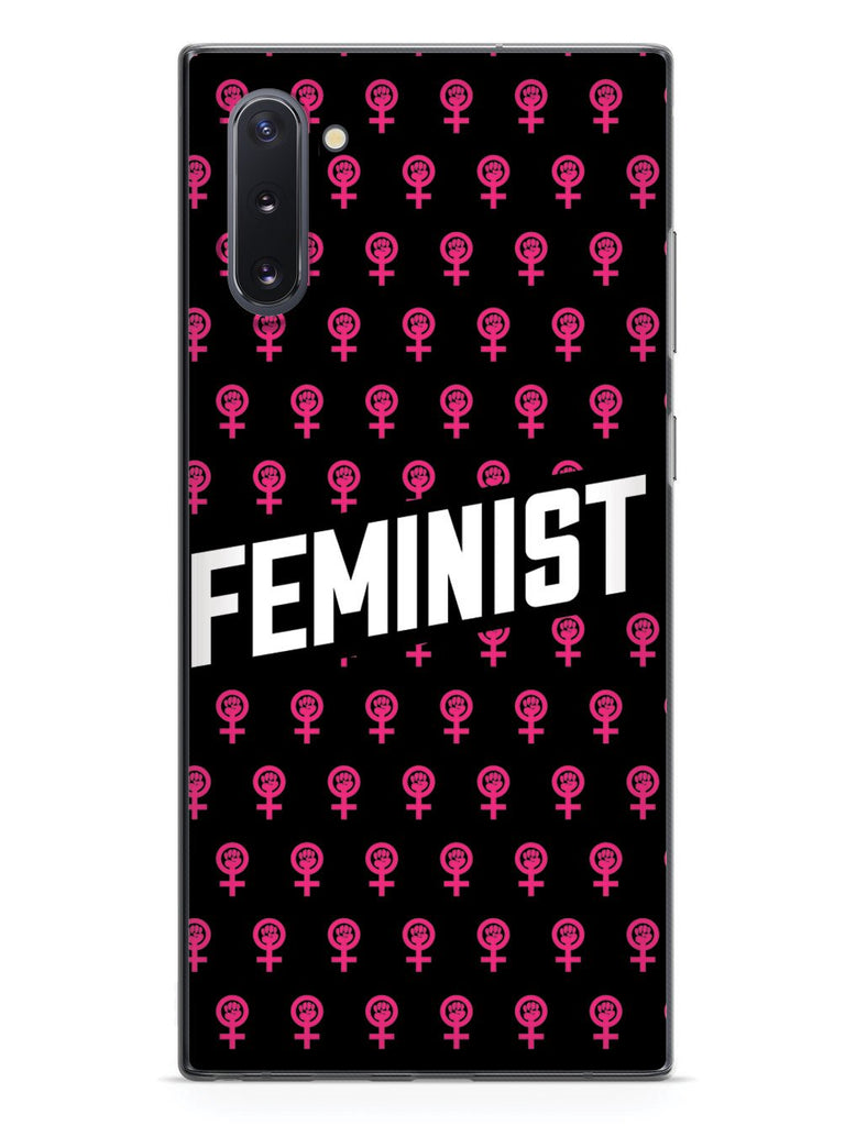 Pink Feminist Pattern - Black Case - pipercleo.com