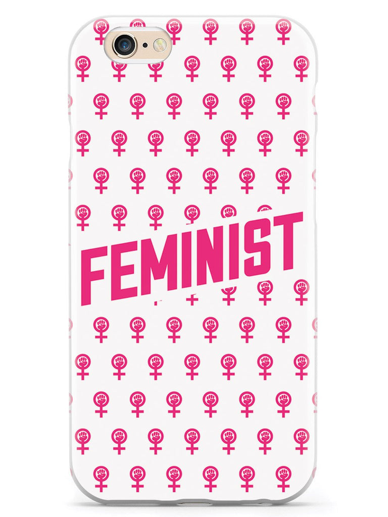 Pink Feminist Pattern - White Case - pipercleo.com