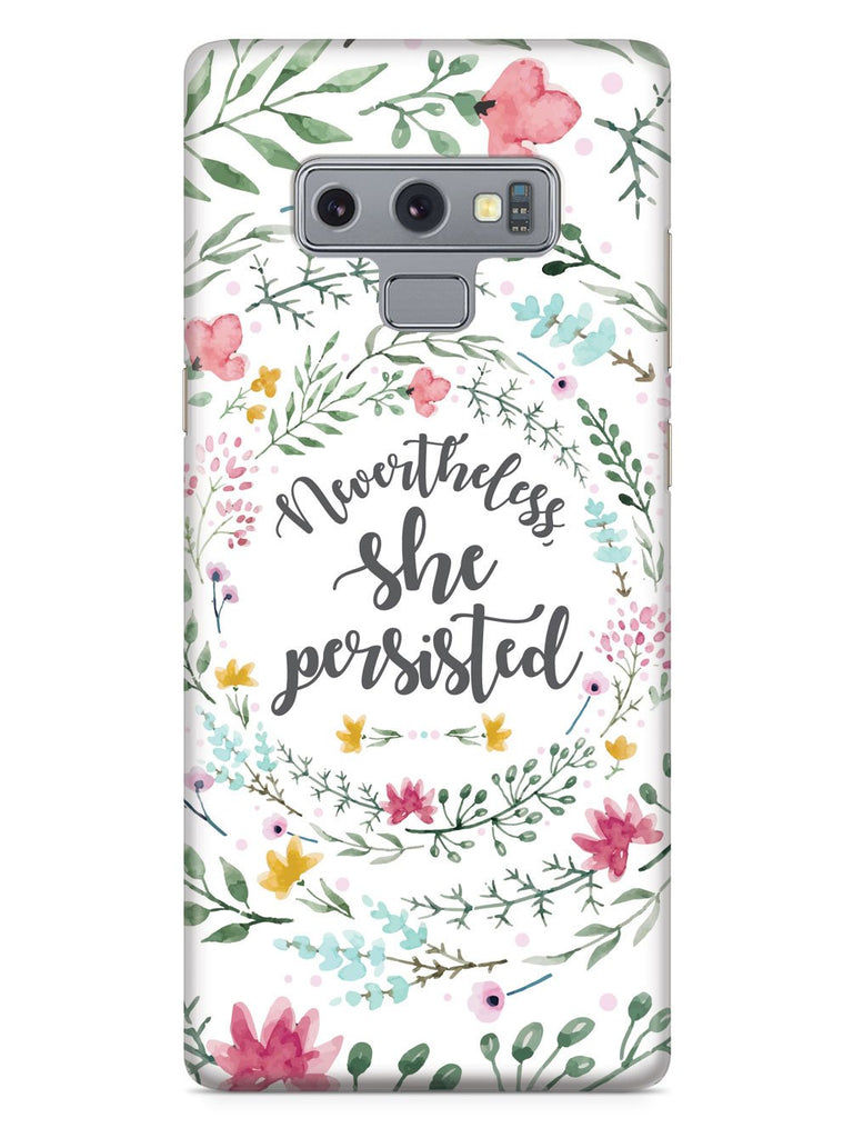 Nevertheless, She Persisted - Watercolor Flower Wreath - White Case - pipercleo.com
