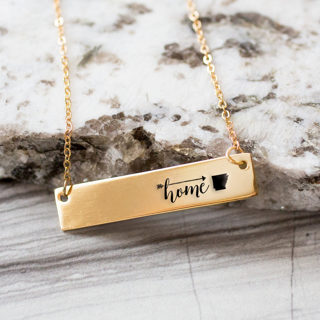 Home is Arkansas Gold / Silver Bar Necklace - pipercleo.com
