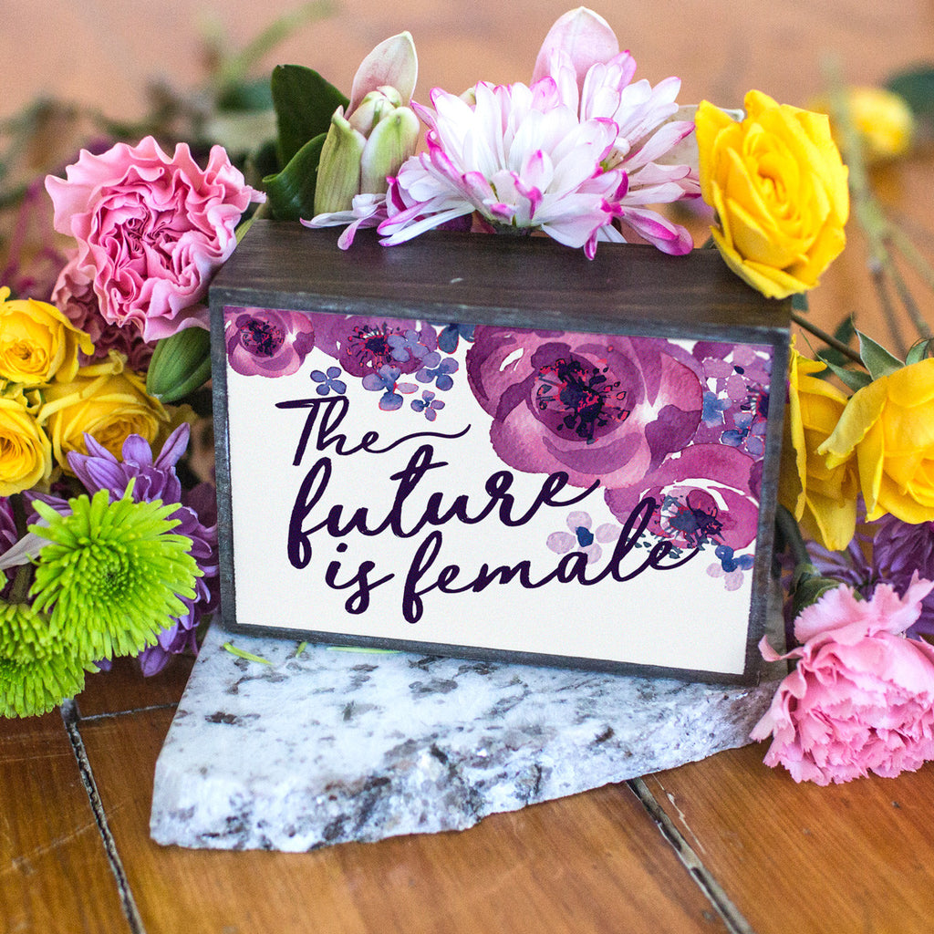 The Future is Female Floral Design Table Top Box