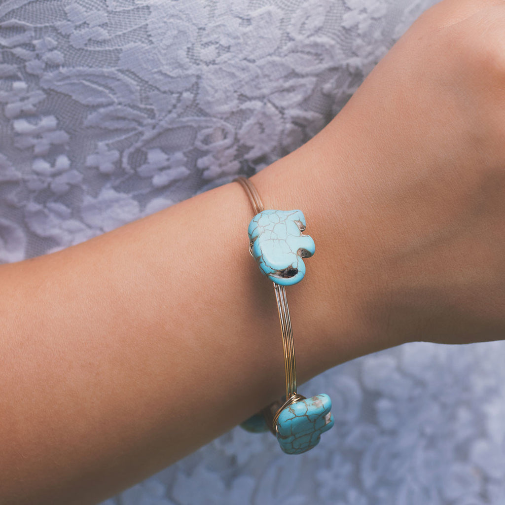 Turquoise Elephant Wire Bangle Gold Bracelet - pipercleo.com