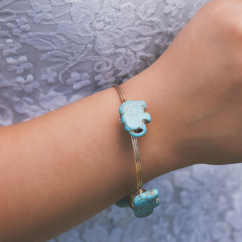 Turquoise Elephant Wire Bangle Gold Bracelet