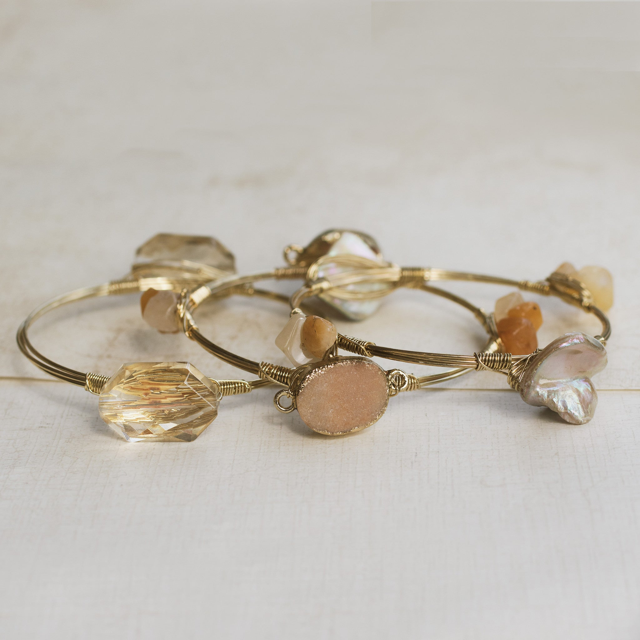 Classic Rock Gold Bangles - pipercleo.com