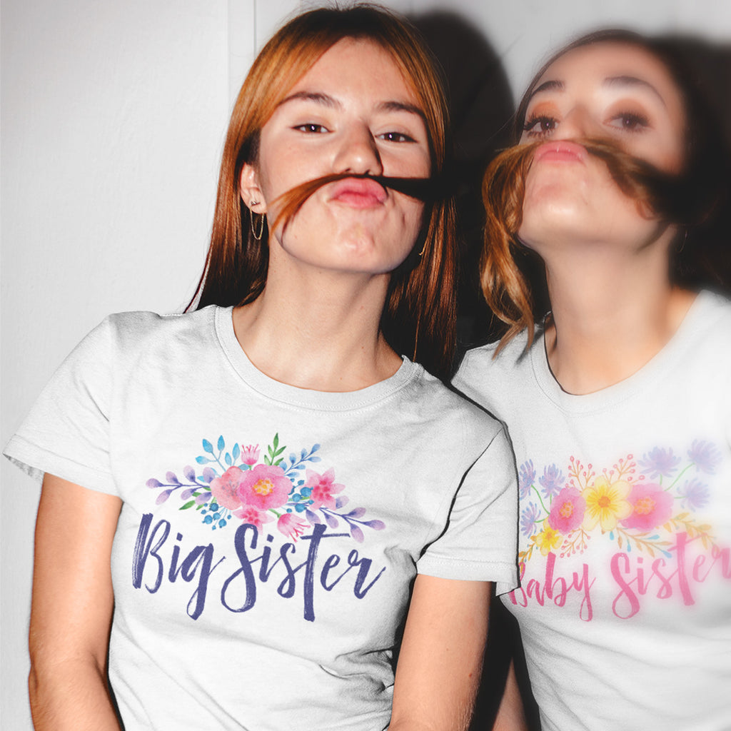 Big Sister - Watercolor Flowers Ladies' Boyfriend T-Shirt - pipercleo.com