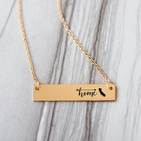 Home is California Gold / Silver Bar Necklace