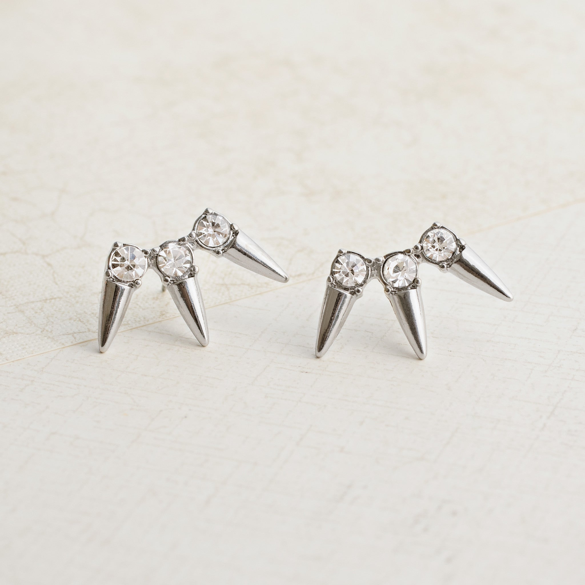 Spikes in Silver Earrings