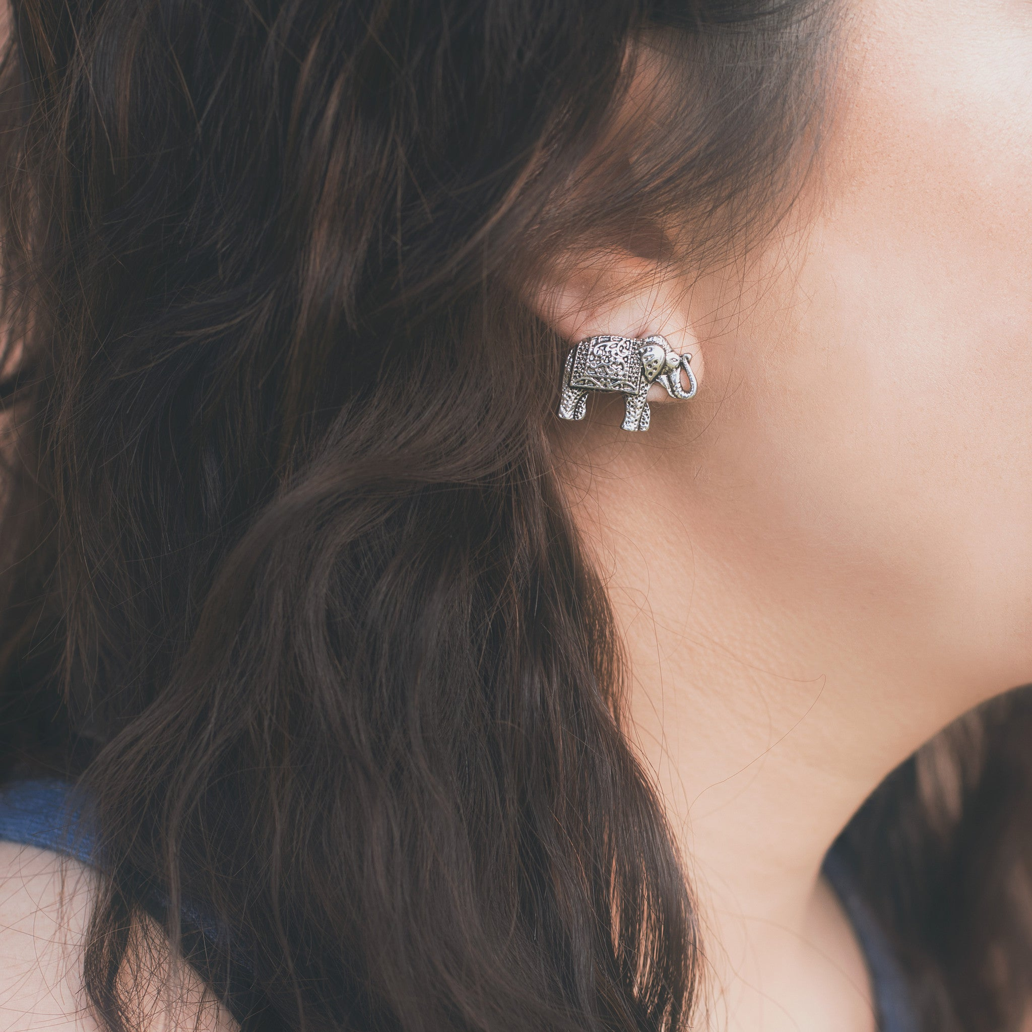 Silver Elephant Earrings