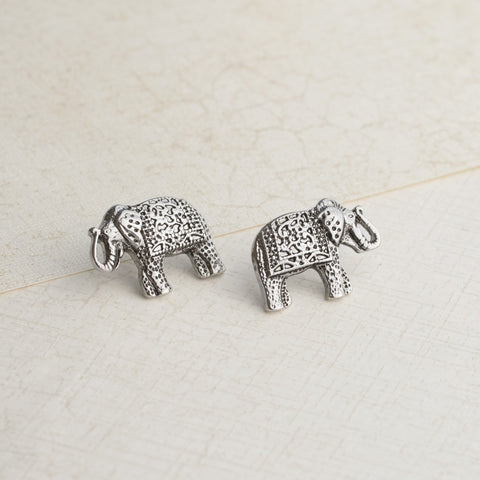 Silver Elephant Earrings - pipercleo.com