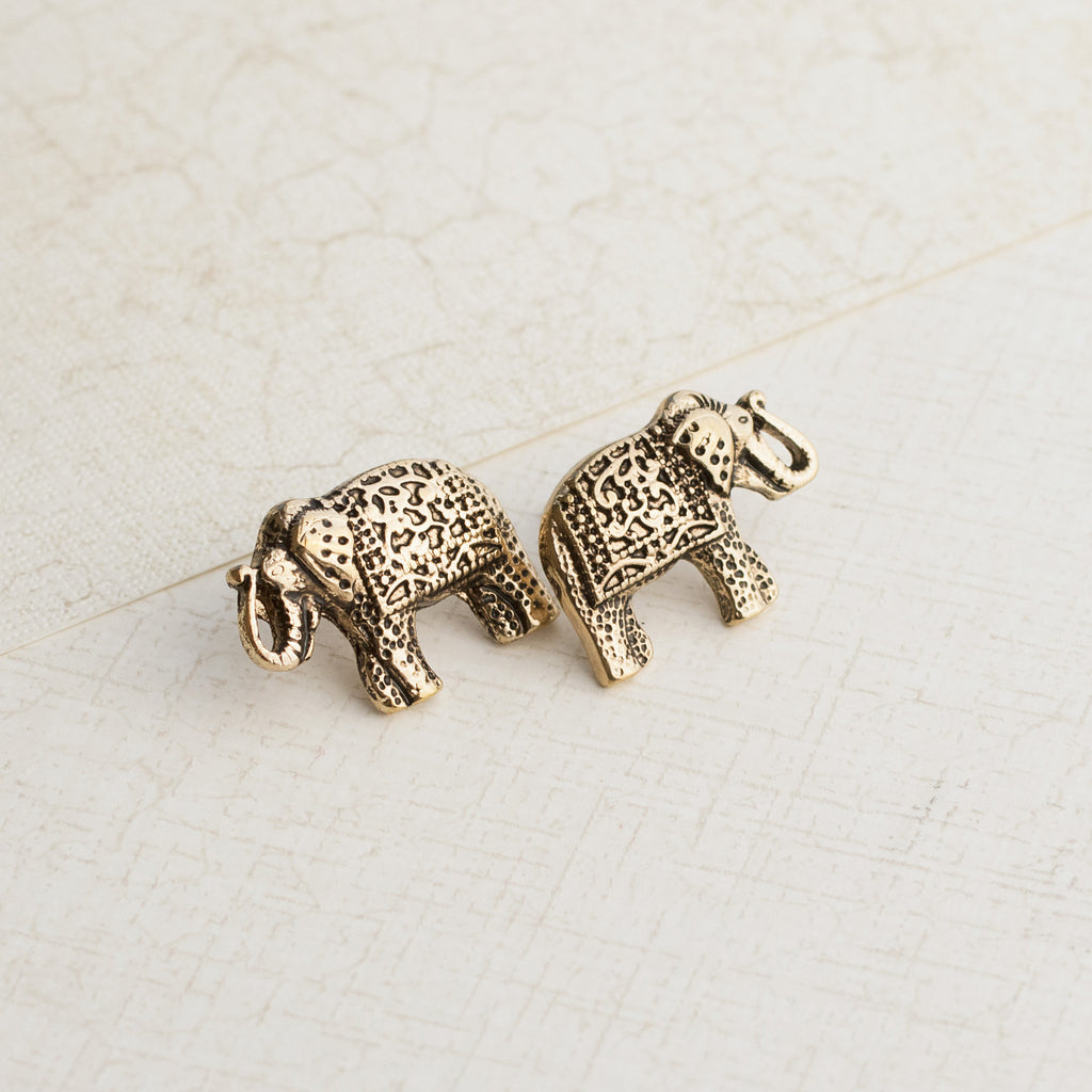 Gold Elephant Earrings - pipercleo.com