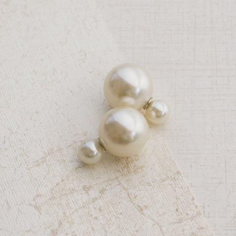 Modern Pearl Silver Earrings