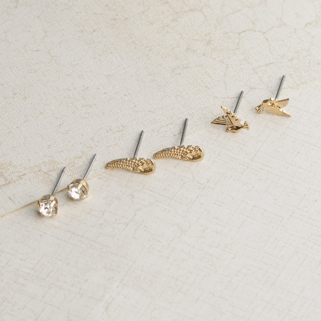Learn to Fly Gold Earring Set