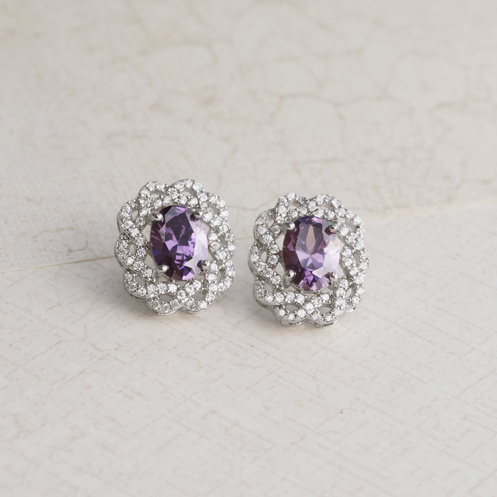 Royal Purple Amethyst Silver Earrings - pipercleo.com