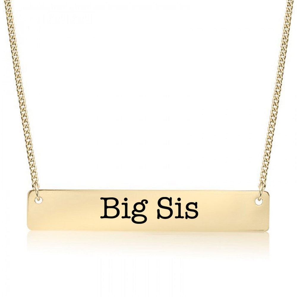 Big Sister Gold / Silver Bar Necklace - Sister Gifts