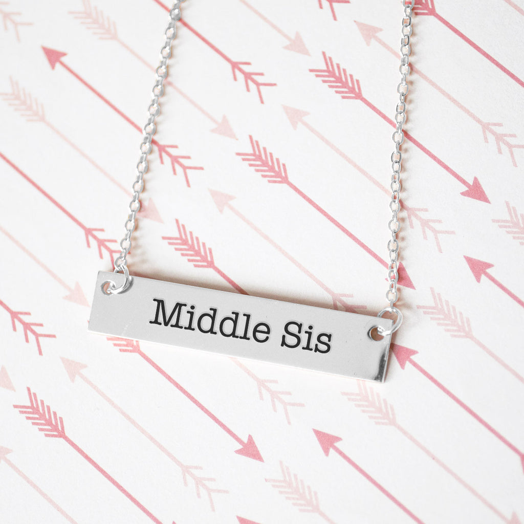 Middle Sister Gold / Silver Bar Necklace - Sister Gifts - pipercleo.com