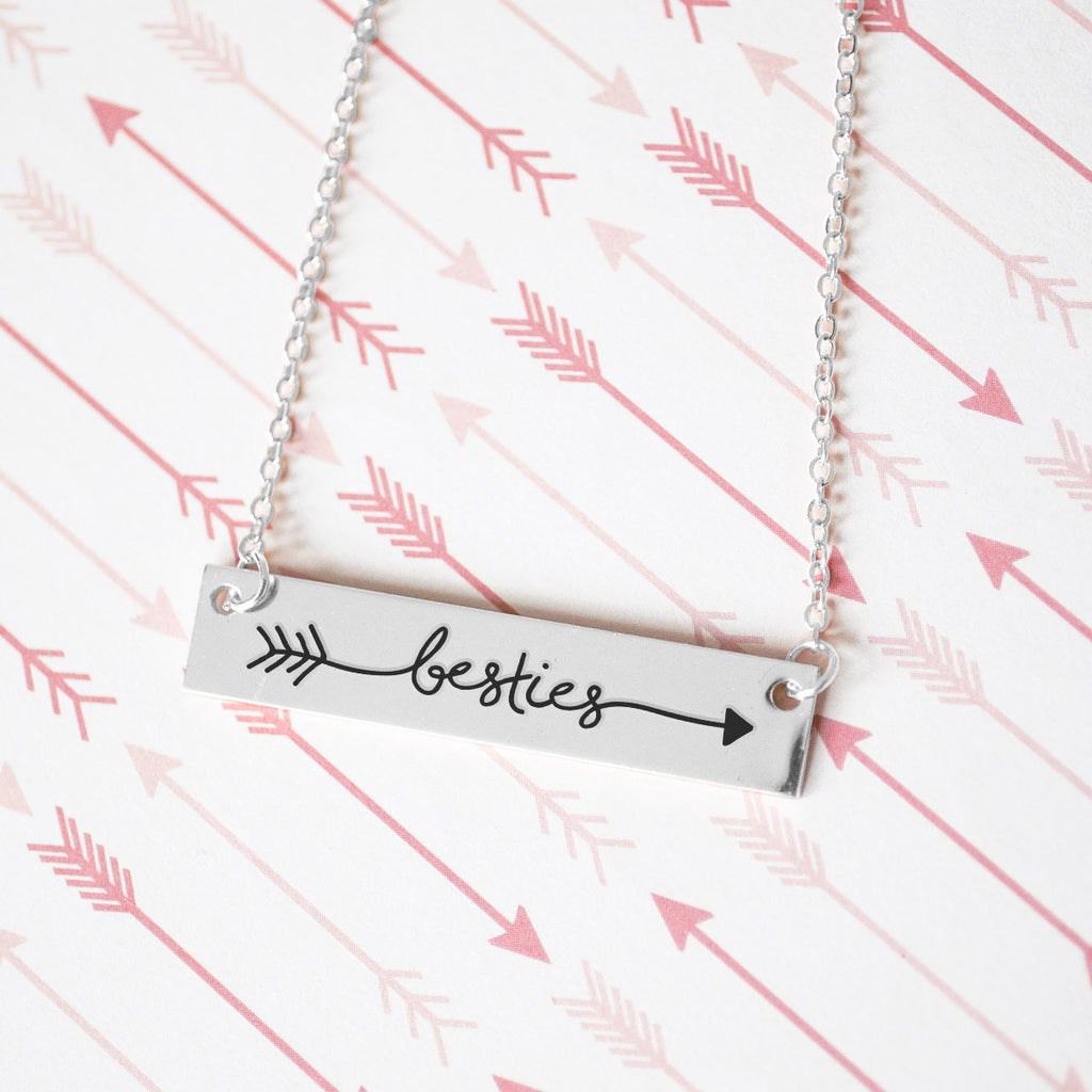 Best Friends Forever Gold / Silver Bar Necklace