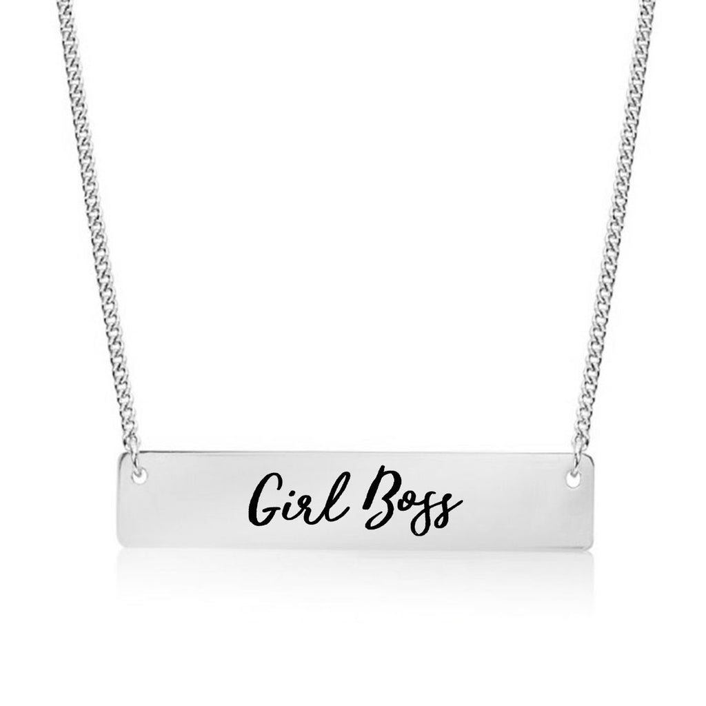 Girl Boss Gold / Silver Bar Necklace - pipercleo.com