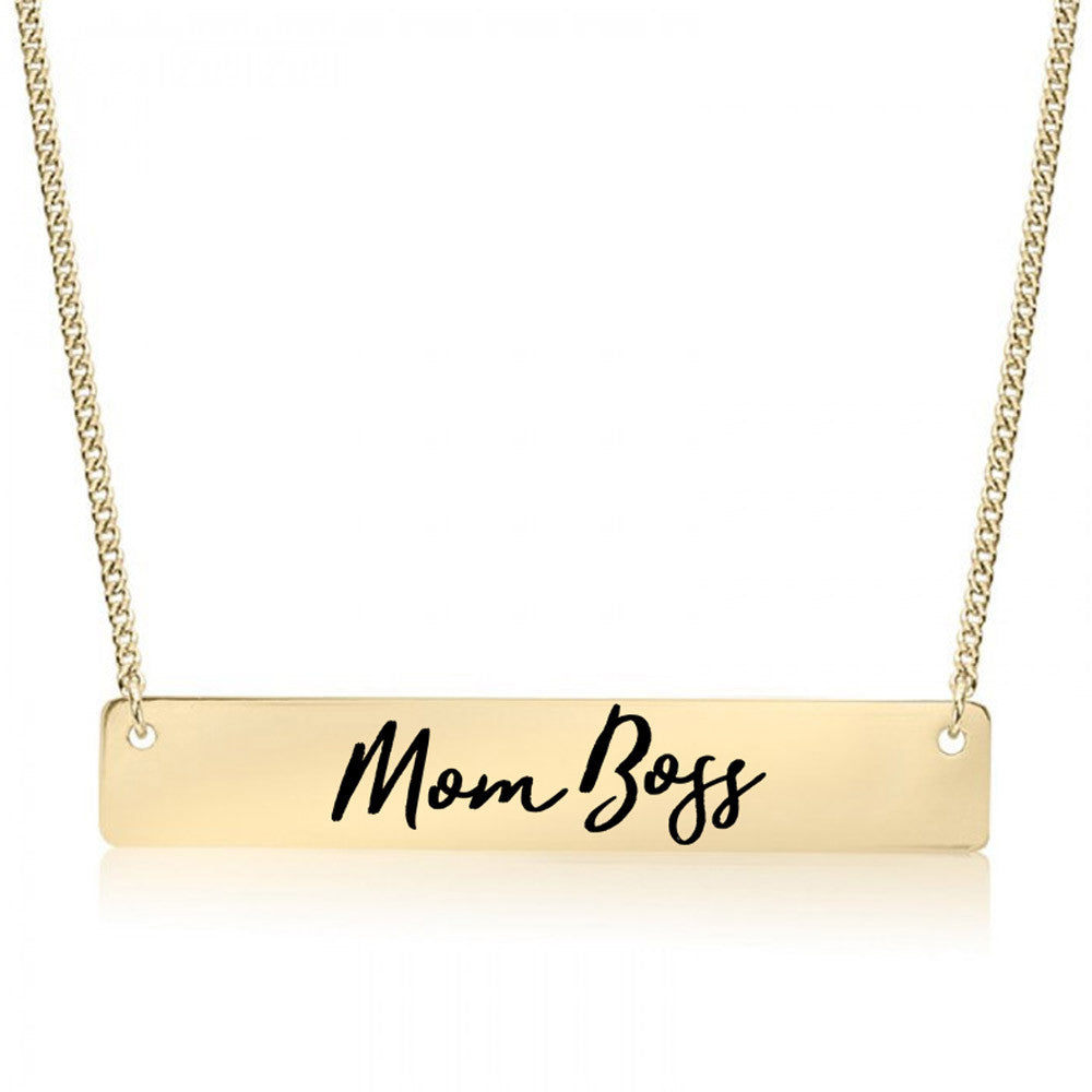 Mom Boss Gold / Silver Bar Necklace - pipercleo.com