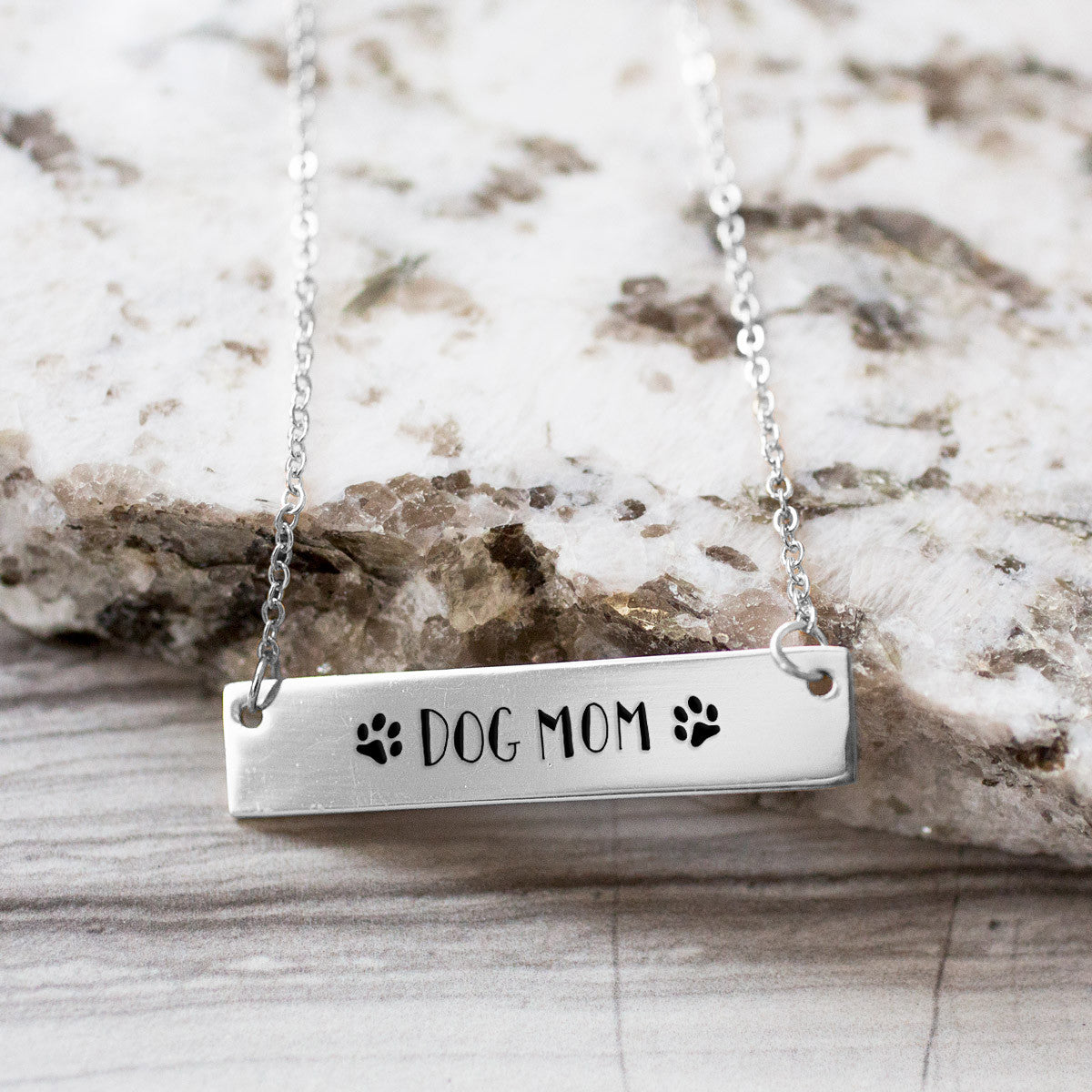 Dog Mom Gold / Silver Bar Necklace - pipercleo.com