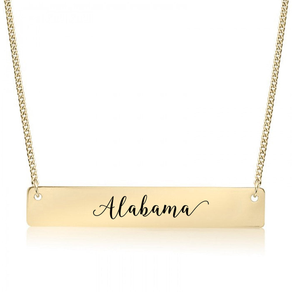 Home State Pride  Gold / Silver Bar Necklace - Select Your State!