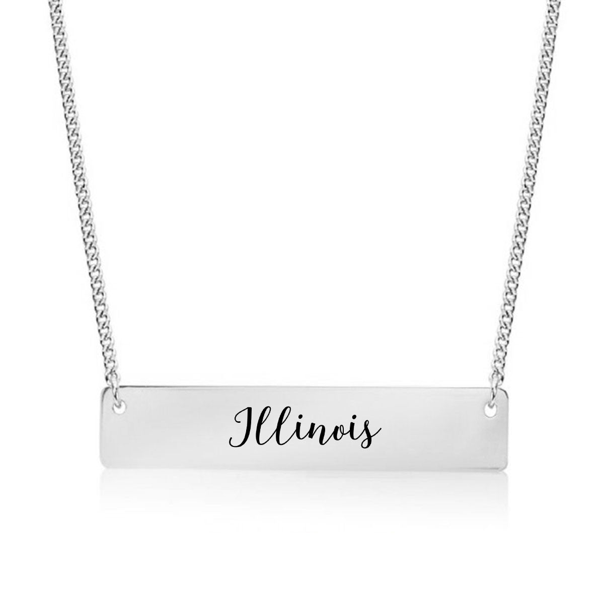Illinois Gold / Silver Bar Necklace - pipercleo.com