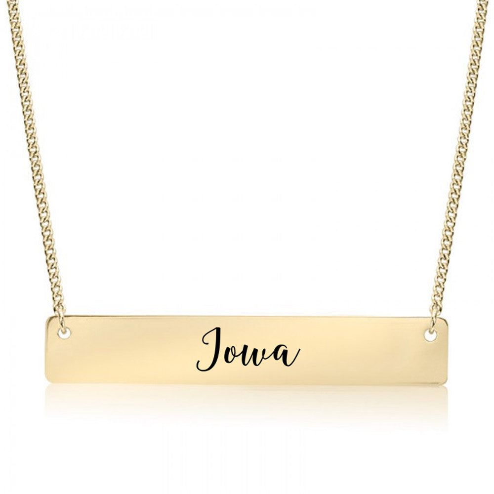 Iowa Gold / Silver Bar Necklace