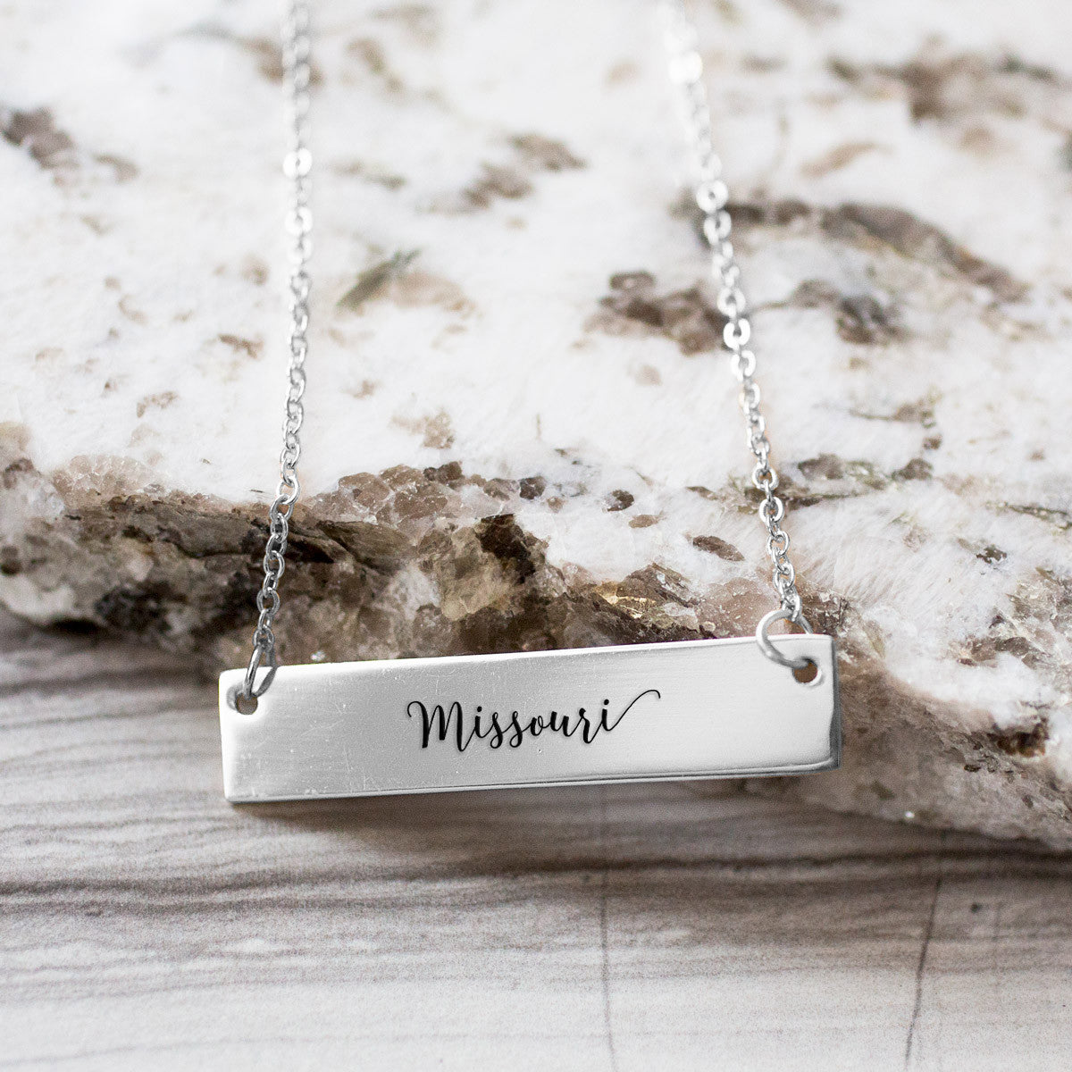 Missouri Gold / Silver Bar Necklace - pipercleo.com