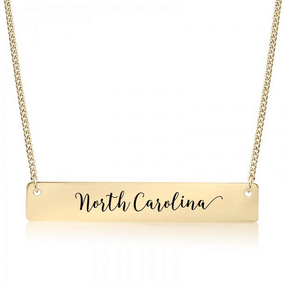 North Carolina Gold / Silver Bar Necklace - pipercleo.com