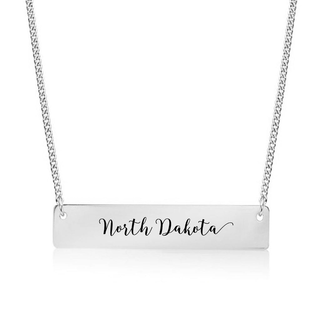 North Dakota Gold / Silver Bar Necklace - pipercleo.com