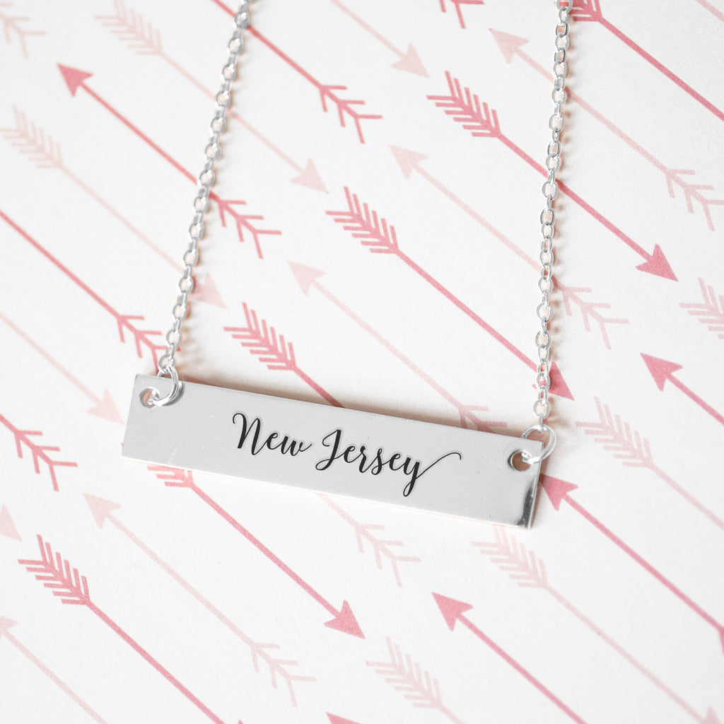 Home State Pride  Gold / Silver Bar Necklace - Select Your State! - pipercleo.com