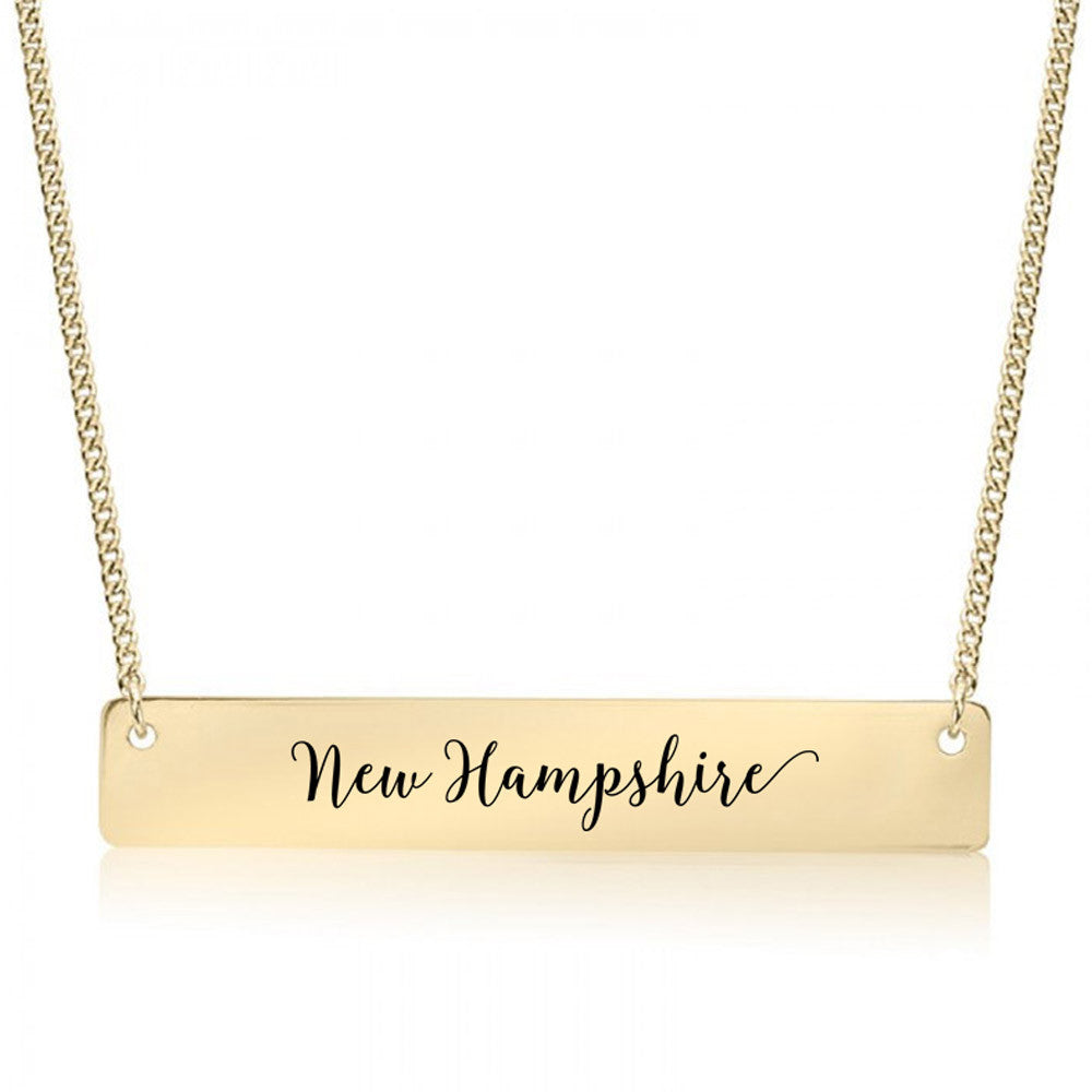 New Hampshire Gold / Silver Bar Necklace - pipercleo.com
