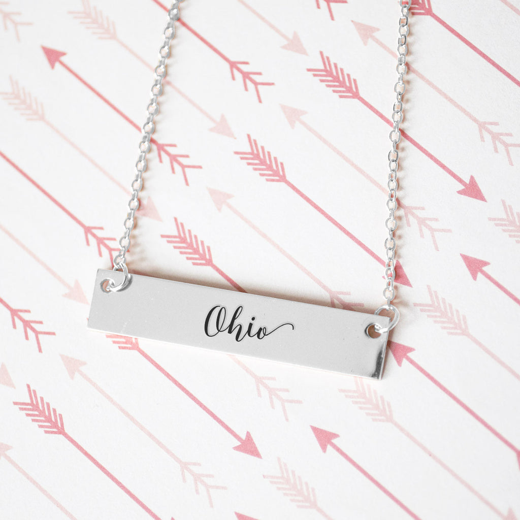 Ohio Gold / Silver Bar Necklace - pipercleo.com
