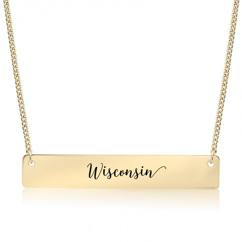 Wisconsin Gold / Silver Bar Necklace - pipercleo.com