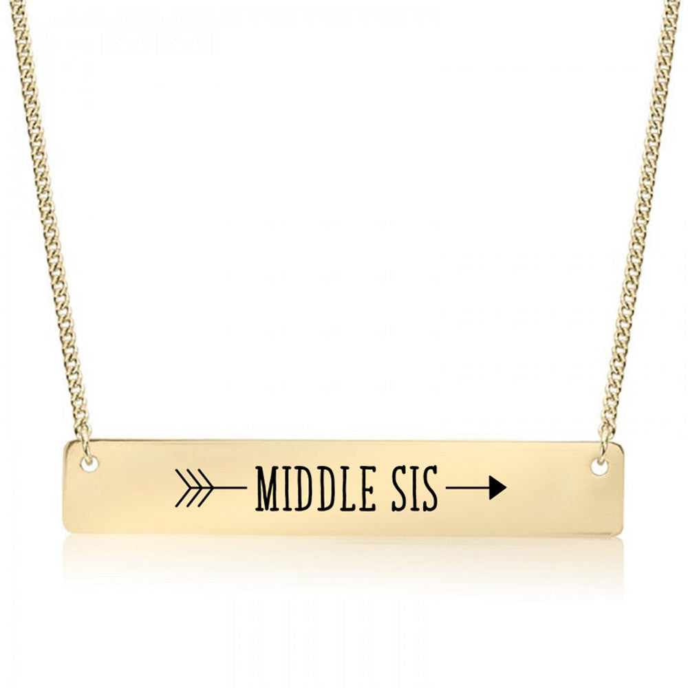 Middle Sister Arrow Gold / Silver Bar Necklace - Sister Gifts