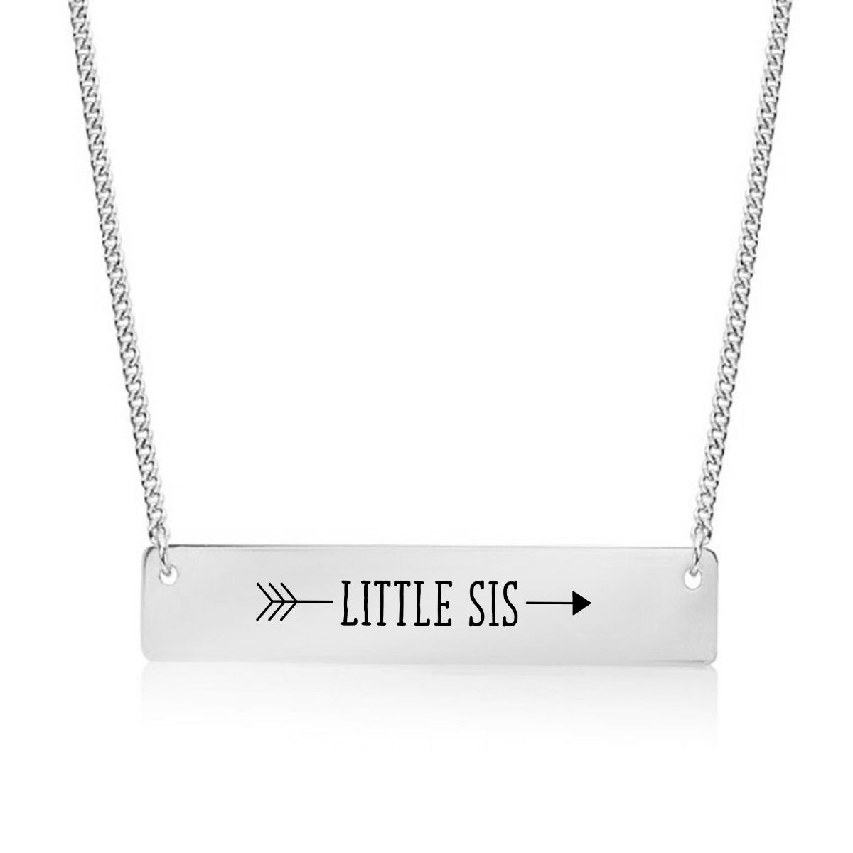 Little Sister Arrow Gold / Silver Bar Necklace - Sister Gifts - pipercleo.com