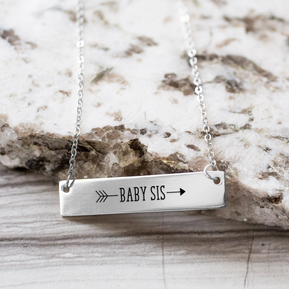 Baby Sister Arrow Gold / Silver Bar Necklace - Sister Gifts