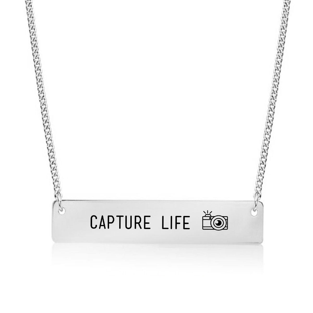 Capture Life - Photographer's Gold / Silver Bar Necklace - pipercleo.com